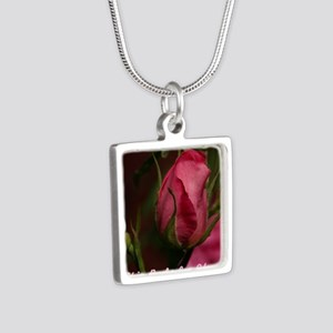 Pink Bud for You Silver Square Necklace